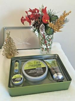 THE BODY SHOP 4pc Tin Gift Set/Box Hemp Body Butter, Hand Fo