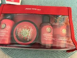 5pc The Body Shop Strawberry Gift Bag Set Shampoo Conditione