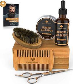 Naturenics Premium Beard Grooming Kit for Mens Care - 100% O