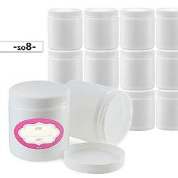 Pack of 12-8 Ounce All-Purpose White Jars with Lids & Labels