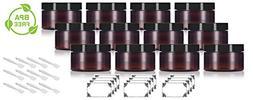 Amber PET Plastic  Refillable Low Profile Jar - 4 oz  + Spat