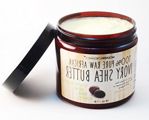 Molivera Organics Raw African Organic Grade A Shea Butter for Skin - 16 oz.