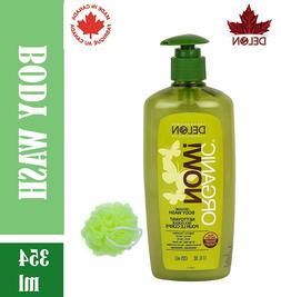 DELON Men & Women Organic Body Wash With Free Loofah For Dee