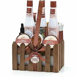 Organic Spa Gift Basket Heavenly Coconut Scent - Luxury 16 P